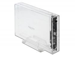 """Delock Externí pouzdro pro HDD SATA 3.5"""" se zásuvkovým průhledným konektorem USB Type-C™ - beznástrojový"""