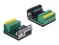 Delock Adaptér Sub-D 9 pin zásuvkový konektor na svorkovnici s tlačítkem
