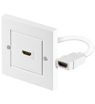 PremiumCord HDMI, zásuvka v panelu, 1x HDMI A - HDMI A Female/Female, bílá