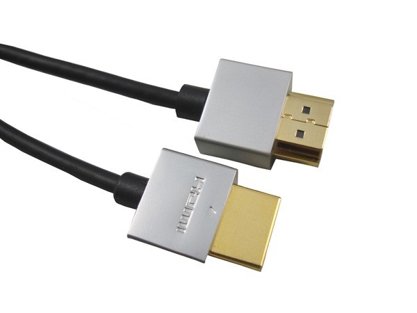 PremiumCord Slim HDMI High Speed + Ethernet kabel, zlacené konektory, 1m