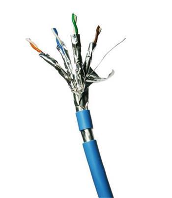 DATACOM F/FTP drát CAT6A LSOH,Eca 500m cívka, plášť modrý