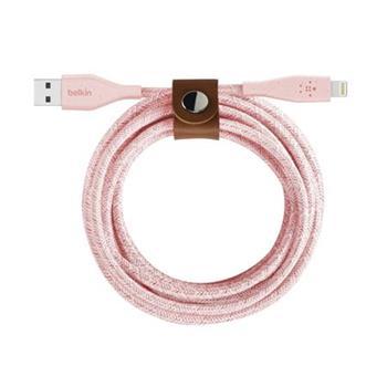 Belkin DURATEK Lightning kabel, 1,2m, růžový - odolný + řemínek