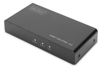 Digitus 4K HDMI Rozbočovač, 1x2, 4K2K, UHD / 60Hz EDID, HDR a downscaling na Full HD, HDCP, černá