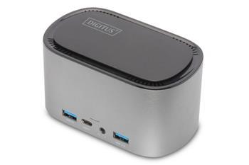 Digitus 11 portová dokovací stanice USB-C s krytem SSD 2x HDMI, DP, 4x USB-A, 2x USB-C, RJ45, AC, M.2 SSD