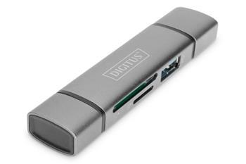 Digitus dvojitá čtečka karet OTG (USB-C + USB 3.0) 1x SD, 1x MicroSD, 1x USB 3.0, šedá