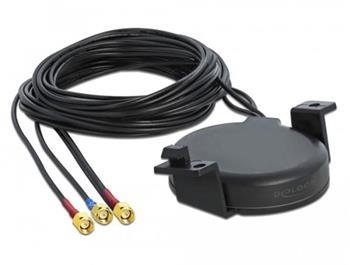 Delock Anténa LTE MIMO GNSS, 3 x SMA, zástrčková, RG-174, 1 m, šroubovací montáž, venkovní, černá