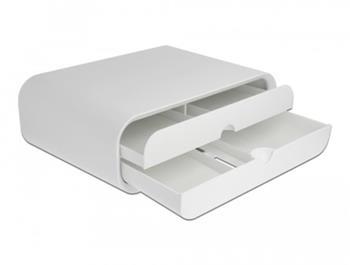 Delock Stojan na monitor, se dvěma zásuvkami, bílý