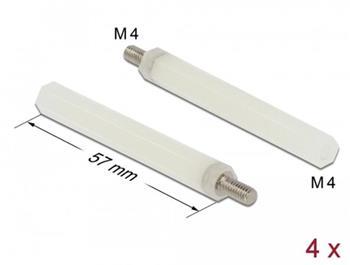 Delock Stavěcí kolík, M4 x M4, šestihranný, vnitřní / vnější, 57 mm, přírodní, 4 ks