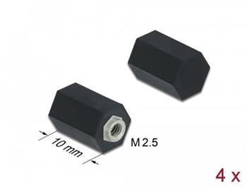 Delock Stavěcí kolík, M2.5, šestihranný, vnitřní, 10 mm, černý, 4 ks