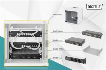 DIGITUS Síťový set 10 palců, včetně skříně 5U, PDU, police, 8 portového přepínače, patch panelu CAT 6