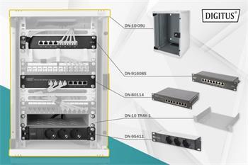 DIGITUS Síťový sada 10 palců, včetně skříně 9U, PDU, police, 8-portového přepínače, patch panelu CAT 6