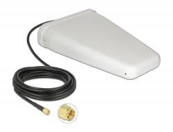 Delock LTE Anténa SMA samec 7 - 9 dBi směrová s připojovacím kabelem (RG-58, 5 m) bílá venkovní