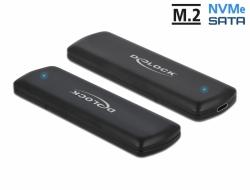 Delock Externí kombinované pouzdro USB Type-C™ pro M.2 NVMe PCIe nebo pro SATA SSD - beznástrojové