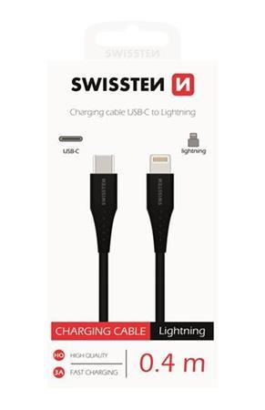 DATOVÝ KABEL SWISSTEN USB-C / LIGHTNING 0,4 M ČERNÝ