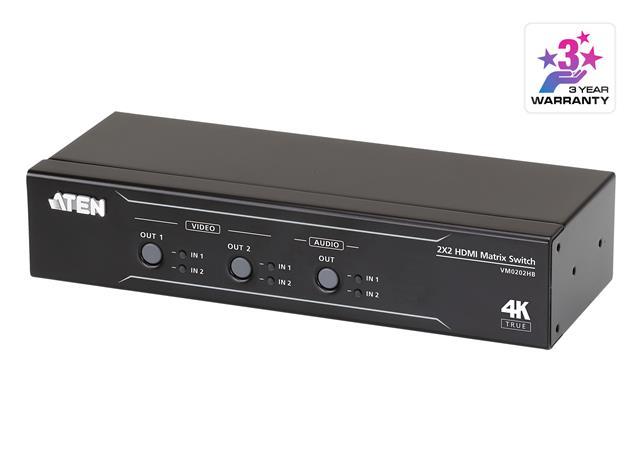 ATEN VM0202HB 2 x 2 True 4K HDMI Matrix Switch with Audio De-Embedder