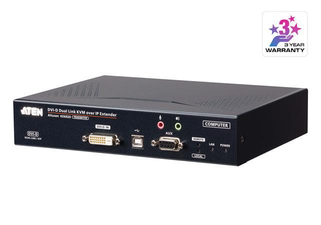 ATEN 2K DVI-D Dual-Link KVM over IP Transmitter with Dual SFP