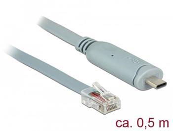 Delock Adaptér USB 2.0 Typ-C samec > 1 x Serial RS-232 RJ45 samec 0,5 m šedá