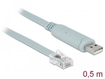 Delock Adapter USB 2.0 Type-A male > 1 x Serial RS-232 RJ45 male 0.5 m grey