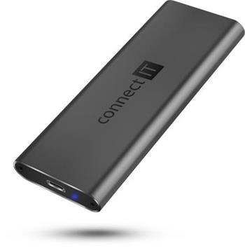 CONNECT IT AluSafe externí box pro SSD disky M.2 NVMe, 10 Gbps, USB-C, ANTRACITOVÝ