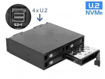 """Delock 5.25"""" Mobilní rack pro 4 x SSD U.2 NVMe formátu 2.5"""" s zamykatelnými zásuvkami"""