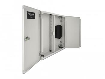 Delock Nástěnná optickovláknová rozvodná skříň s dvojitými dveřmi, šedá