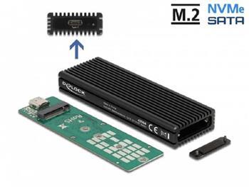 Delock Externí kombinované pouzdro USB Type-C™ pro M.2 NVMe PCIe nebo pro SATA SSD