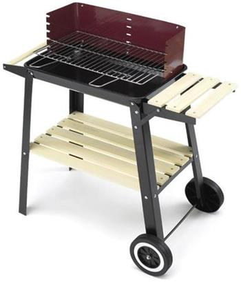 LANDMANN gril na dřevěné uhlí (vozík), grilovací plocha 47 x 23 cm, černý