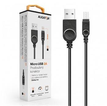 Aligator Datový kabel , micro USB, 2A, 1m, prodloužený konektor 9mm, černý
