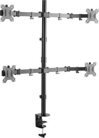CONNECT IT QuadroArm Basic stolní držák na 4 monitory, ČERNÝ
