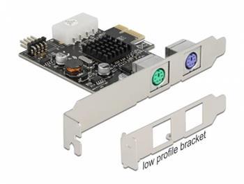 Delock PCI Express x1 Karta na 2 PS/2 a USB pinový konektor - Low Profile