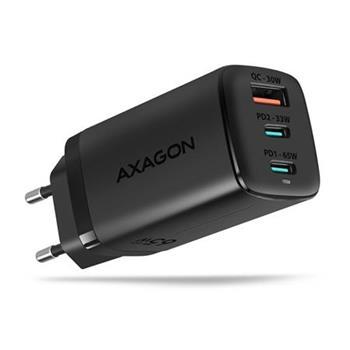 AXAGON ACU-DPQ65, GaN nabíječka do sítě, 3x port (USB-A + dual USB-C), PD3.0/QC4+/PPS/Apple, 65W