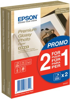 EPSON paper 10x15 - 255g/m2 - 2x40sheets - photo premium glossy (2 for 1 PROMO)