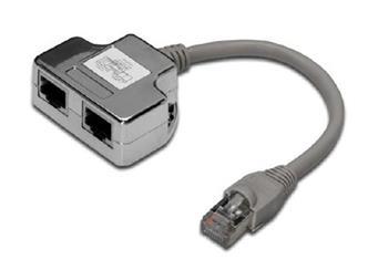 Digitus Adaptor CAT5E 1:1 RJ45 M, 2 X RJ45 F, 0,19metru