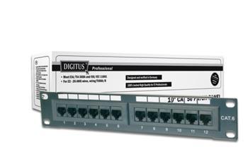 Digitus CAT 5e patch panel, nestíněný, 12 portů RJ45 8P8C, LSA, 1U, 254 mm (10