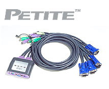 ATEN KVM switch CS-64A PS/2 4PC mini vč. kabeláže 1,2