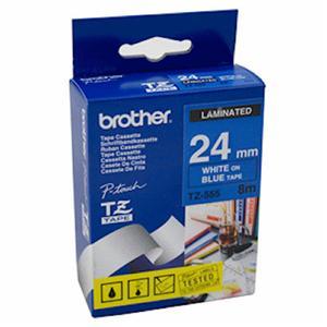 Brother - TZ-555, modrá / bílá (24mm, laminovaná)