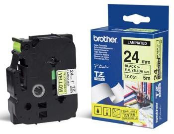 Brother - TZ-C51, signální žlutá / černá (24mm)
