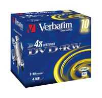 VERBATIM DVD+RW(10-Pack)Jewel/4x/DLP/4.7GB